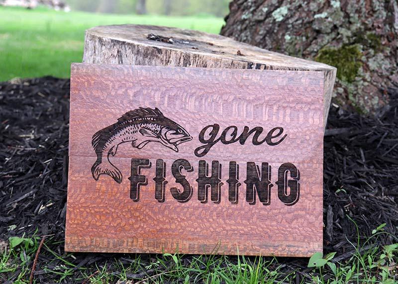 Laser Engraved Zebra Wood-Gone-Fishing