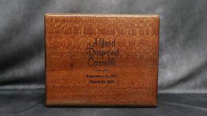 Laser Engraved Zebra Wood Urn