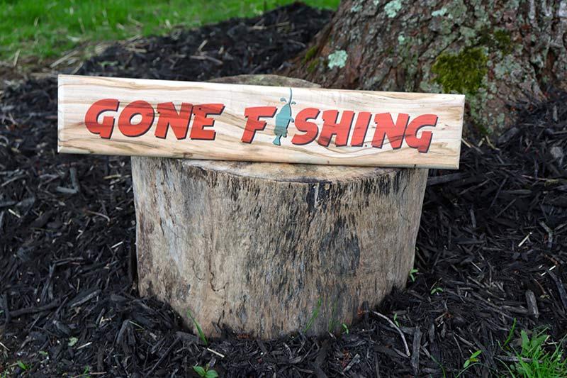 Maple Wood UV Printed-Gone-Fishing