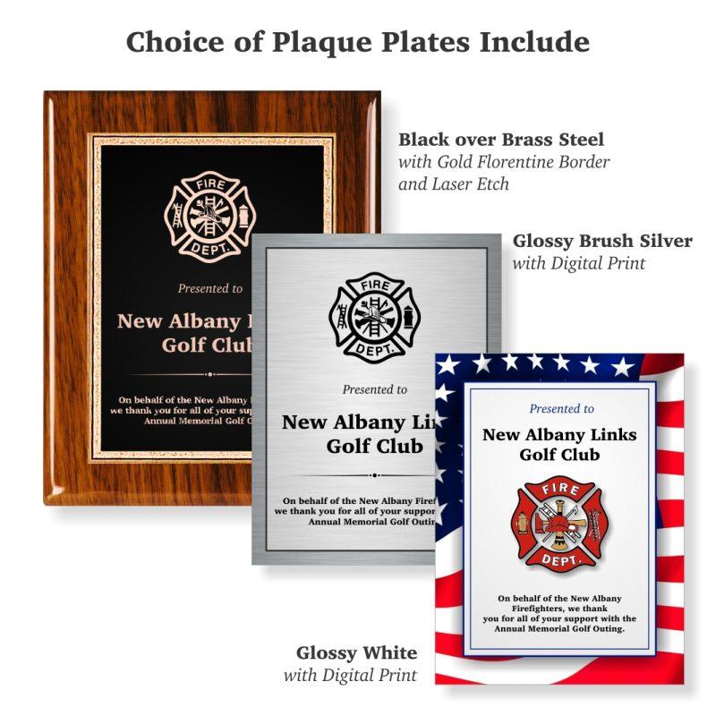 Choice of Plaque Plates Walnut Piano Finish