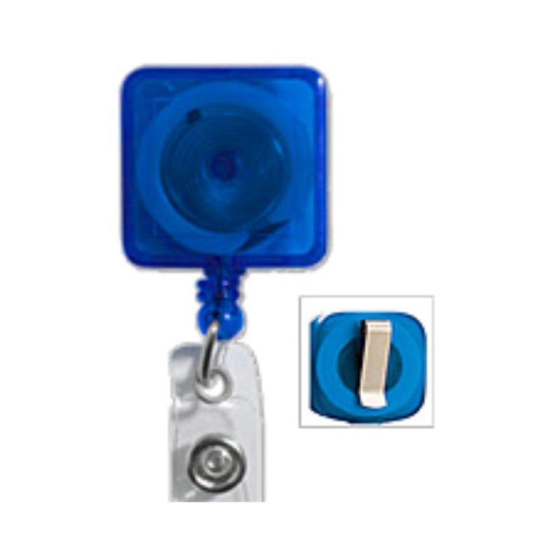 Square Badge Reel with Sliding Belt Clip
