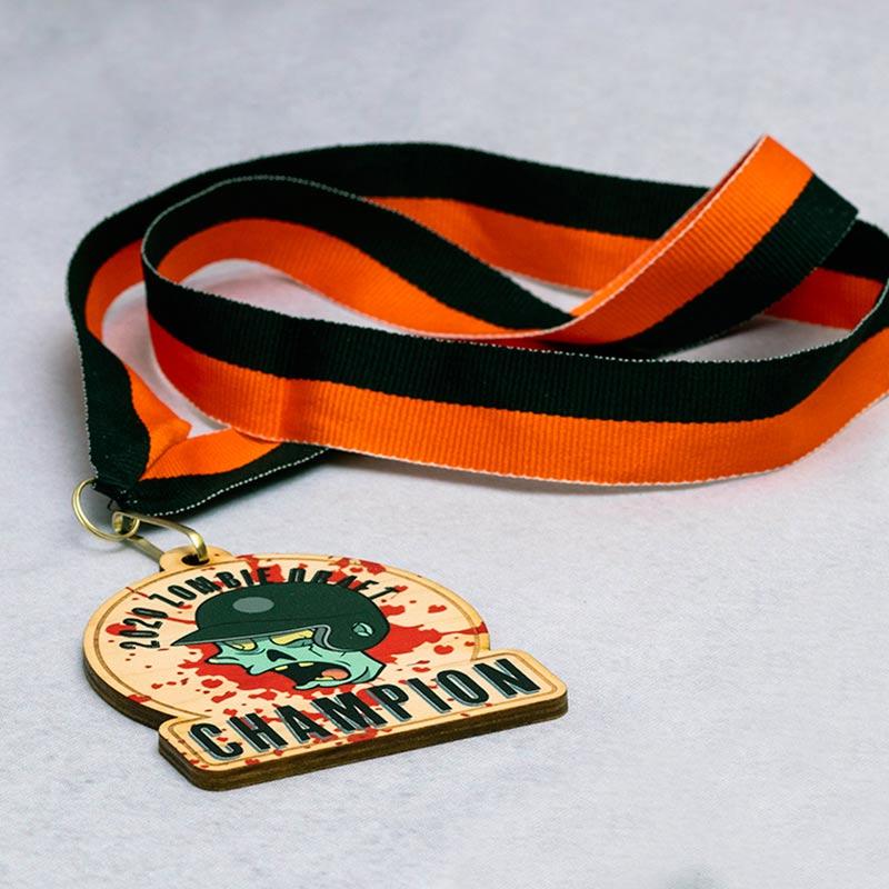 Zombie Themed Softball League Medal